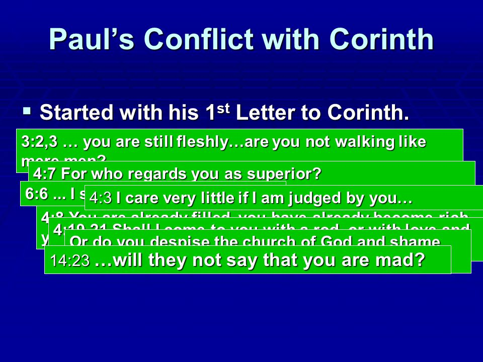 Paul's Conflict with Corinth  Started with his 1 st Letter to Corinth.