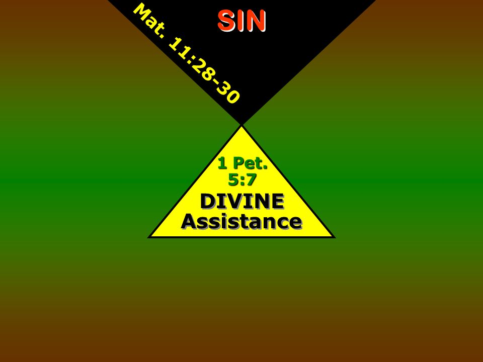 DIVINE Assistance 1 Pet. 5:7 SIN Mat. 11:28-30