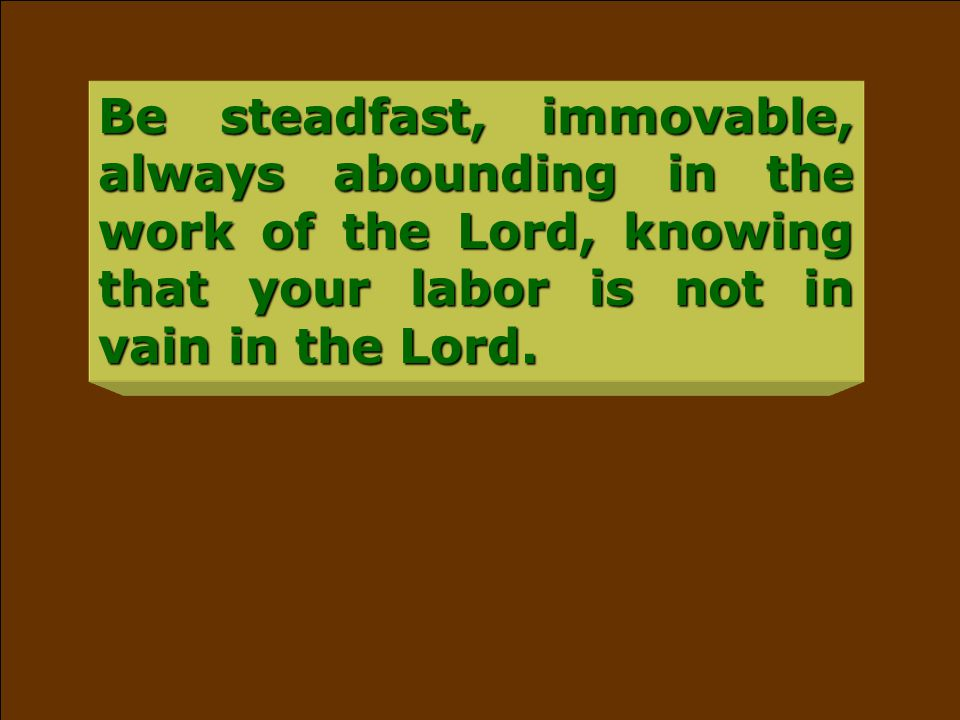 Be steadfast, immovable, always abounding in the work of the Lord, knowing that your labor is not in vain in the Lord.