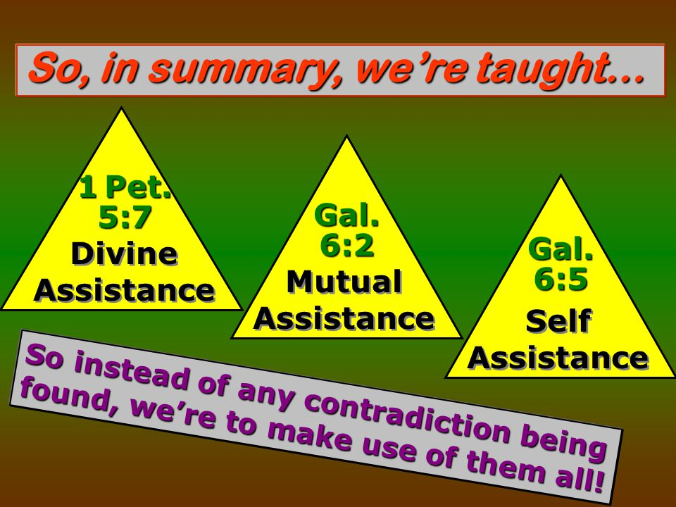 So, in summary, we're taught… Divine Assistance 1 Pet.