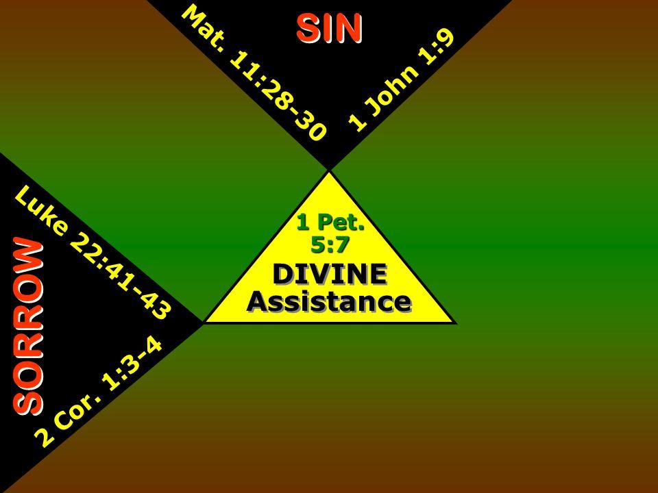 DIVINE Assistance 1 Pet. 5:7 SIN Mat. 11:28-30 1 John 1:9 SORROW Luke 22:41-43 2 Cor. 1:3-4