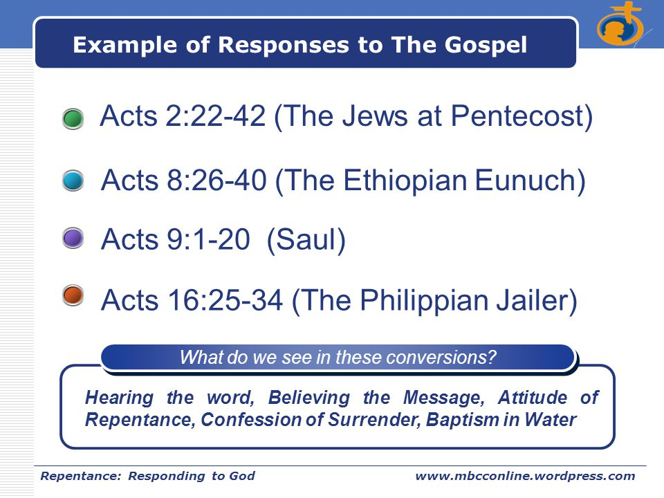 LOGO Repentance: Responding to Godwww.mbcconline.wordpress.com Example of Responses to The Gospel Acts 2:22-42 (The Jews at Pentecost) Acts 8:26-40 (T