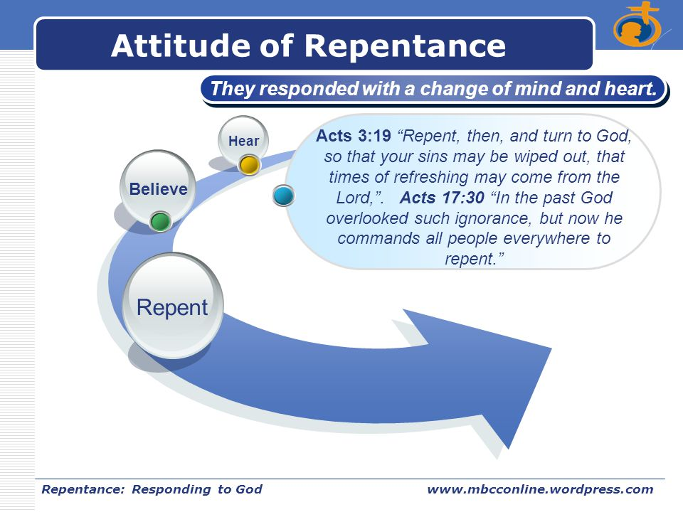 LOGO Repentance: Responding to Godwww.mbcconline.wordpress.com Attitude of Repentance Repent Believe Hear They responded with a change of mind and hea