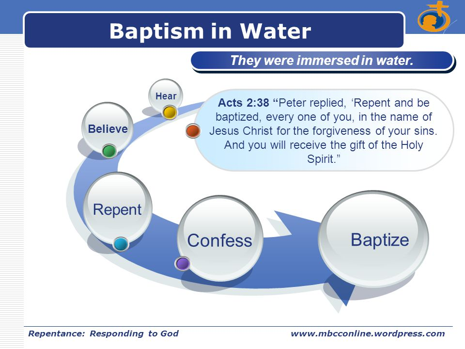LOGO Repentance: Responding to Godwww.mbcconline.wordpress.com Baptism in Water Confess Repent Believe Hear Baptize They were immersed in water. Acts
