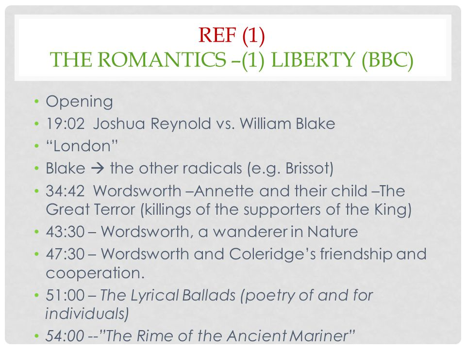 REF (1) THE ROMANTICS –(1) LIBERTY (BBC) Opening 19:02 Joshua Reynold vs.
