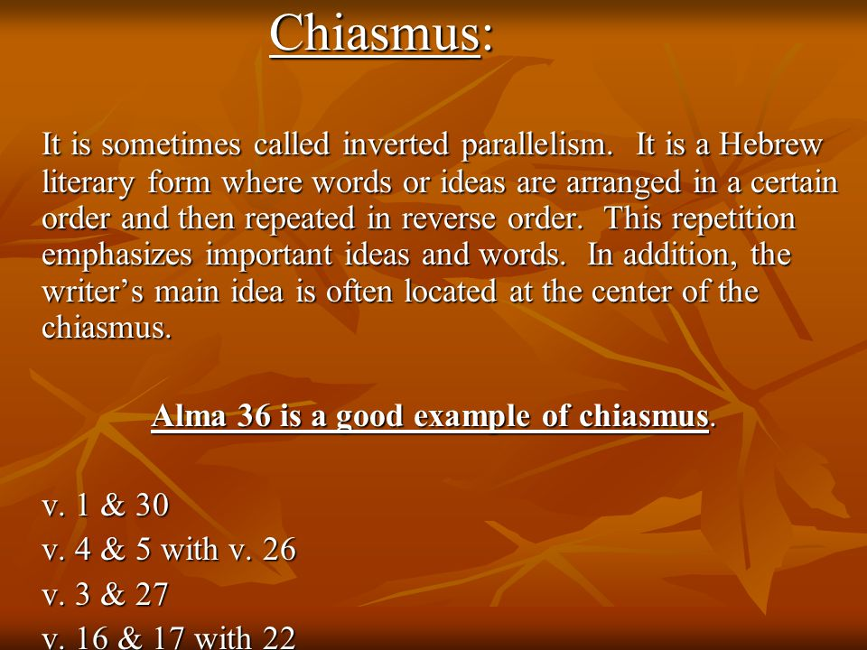 Chiasmus: It is sometimes called inverted parallelism.