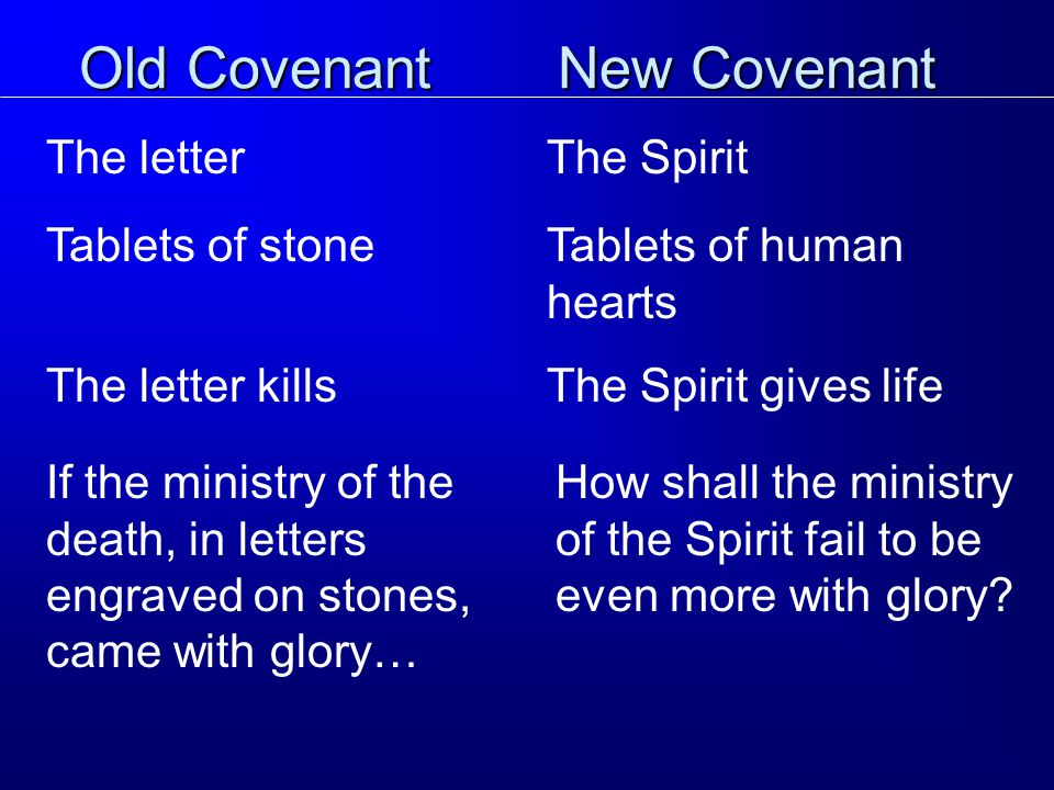 Old Covenant The letter New Covenant The Spirit Tablets of stoneTablets of human hearts The letter killsThe Spirit gives life If the ministry of the death, in letters engraved on stones, came with glory… How shall the ministry of the Spirit fail to be even more with glory