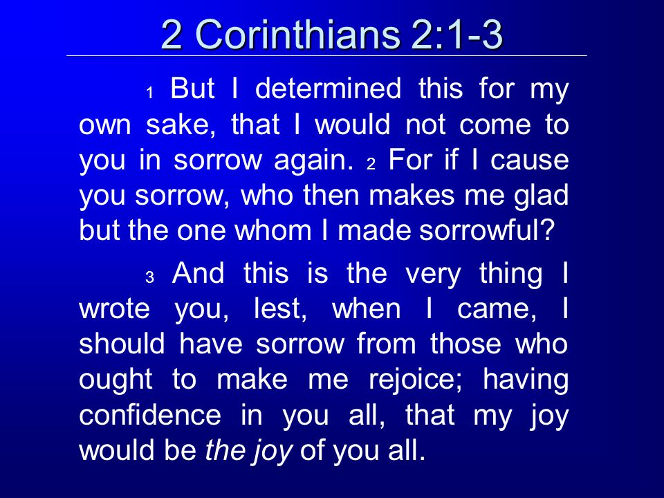 2 Corinthians 2:4 For out of much affliction and anguish of heart I wrote to you with many tears; not that you should be made sorrowful, but that you might know the love which I have especially for you.