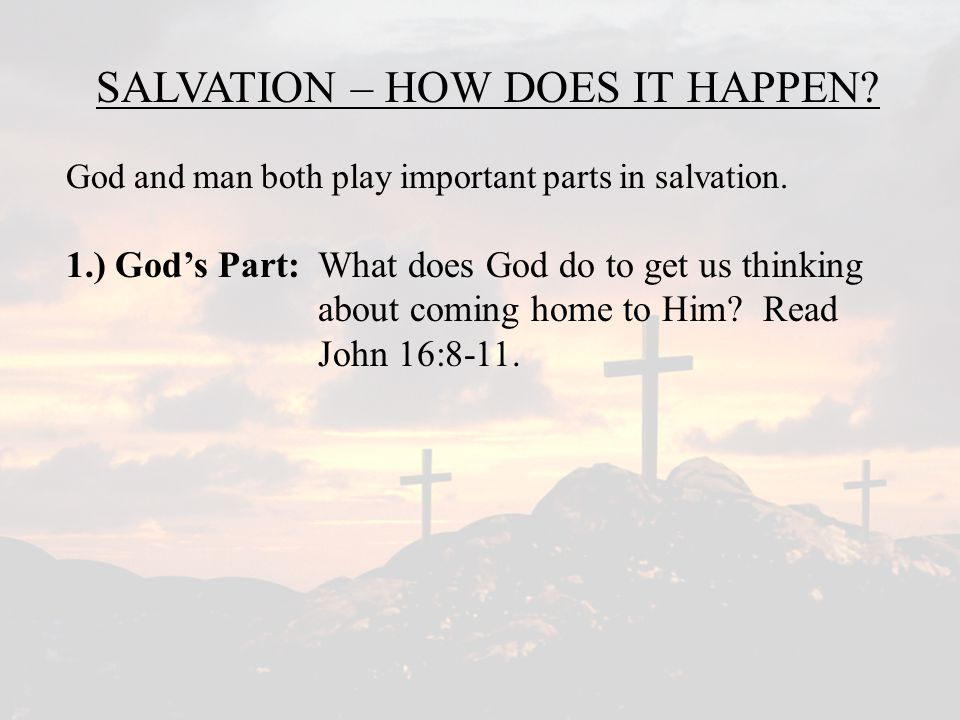 SALVATION – HOW DOES IT HAPPEN.God and man both play important parts in salvation.