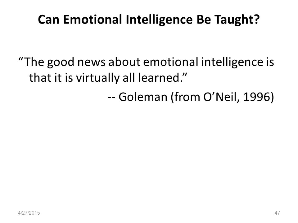 Can Emotional Intelligence Be Taught.