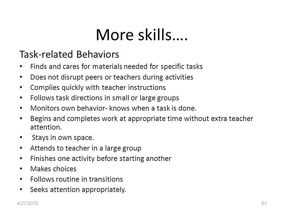 More skills….