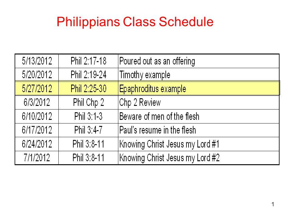 1 Philippians Class Schedule