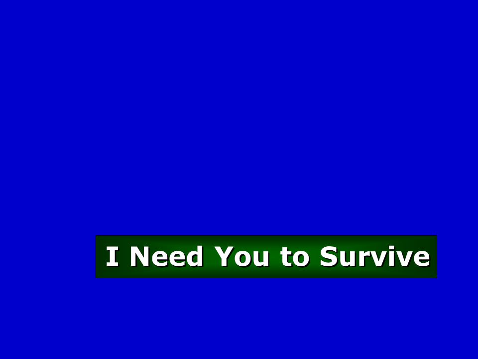 I Need You to Survive