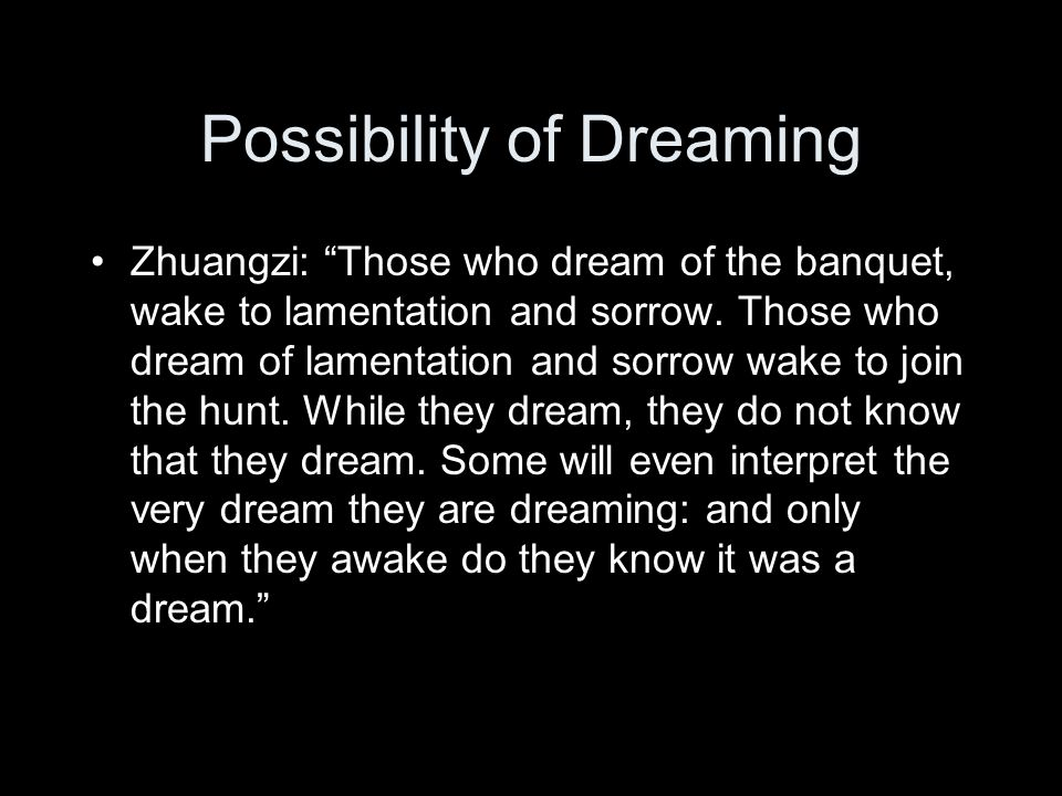 Possibility of Dreaming Zhuangzi: Those who dream of the banquet, wake to lamentation and sorrow.