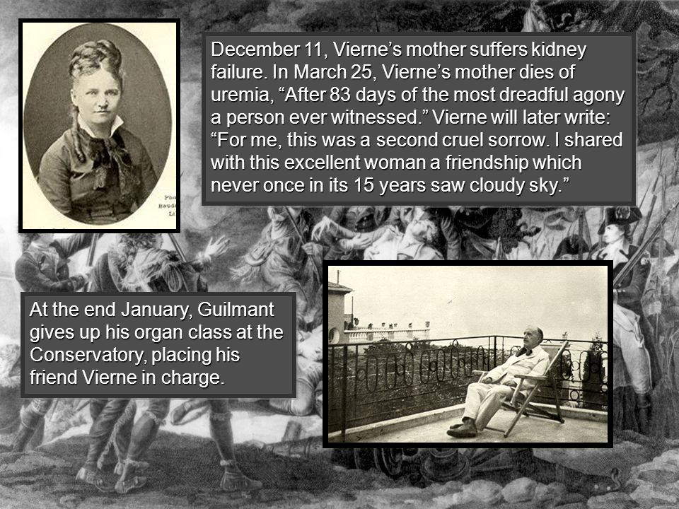 """December 11, Vierne's mother suffers kidney failure. In March 25, Vierne's mother dies of uremia, """"After 83 days of the most dreadful agony a person e"""
