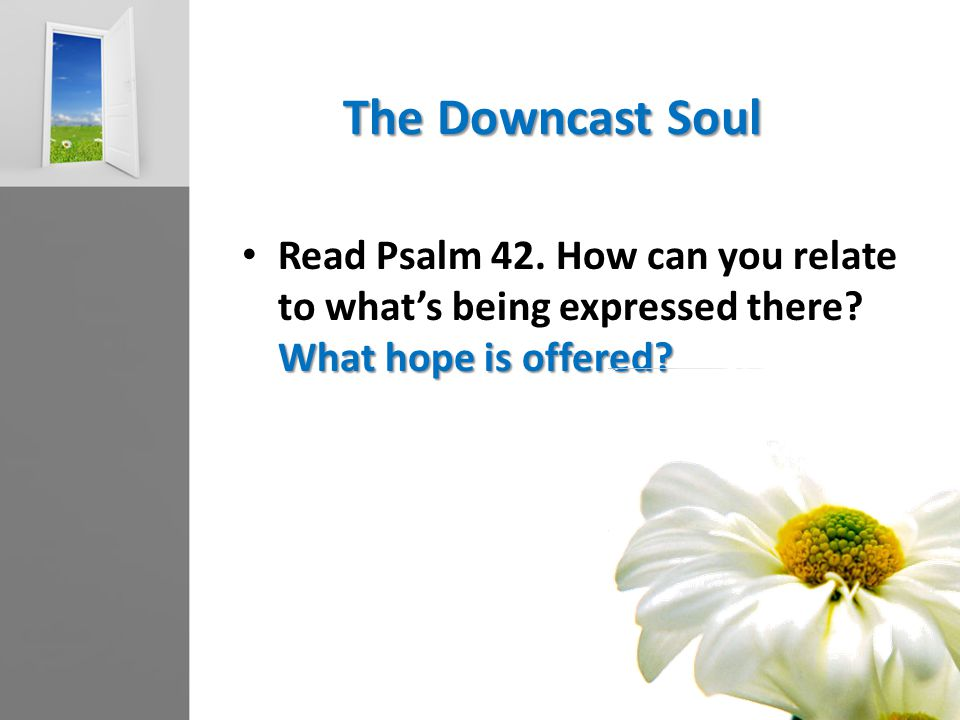 The Downcast Soul What hope is offered? Read Psalm 42. How can you relate to what's being expressed there? What hope is offered?