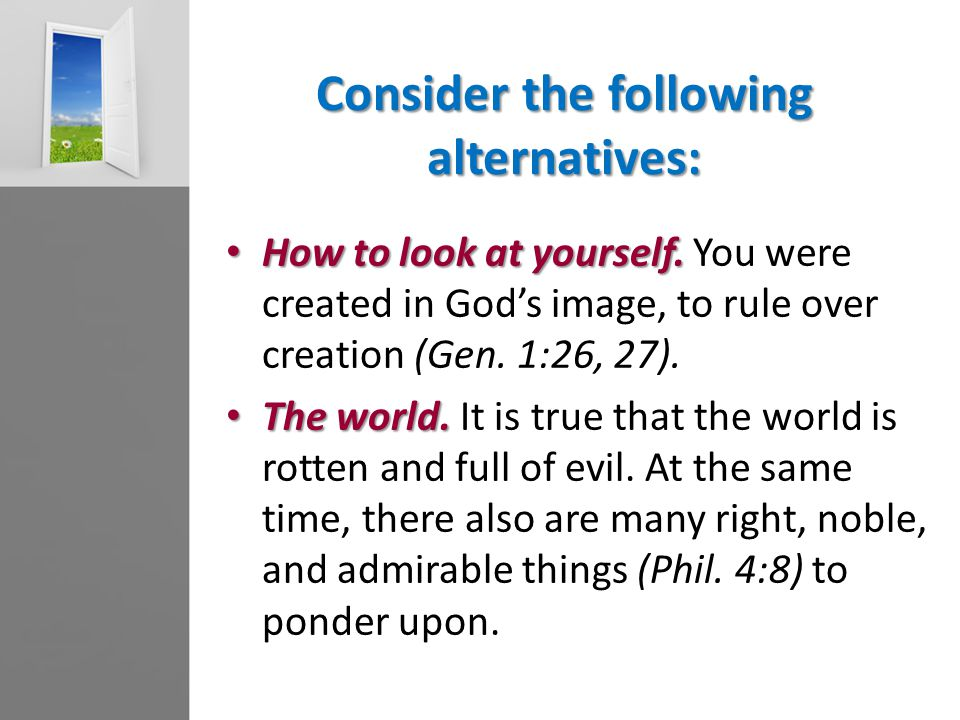 Consider the following alternatives: How to look at yourself.