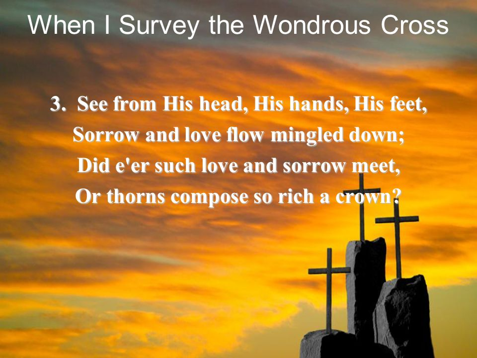3. See from His head, His hands, His feet, Sorrow and love flow mingled down; Did e'er such love and sorrow meet, Or thorns compose so rich a crown? W