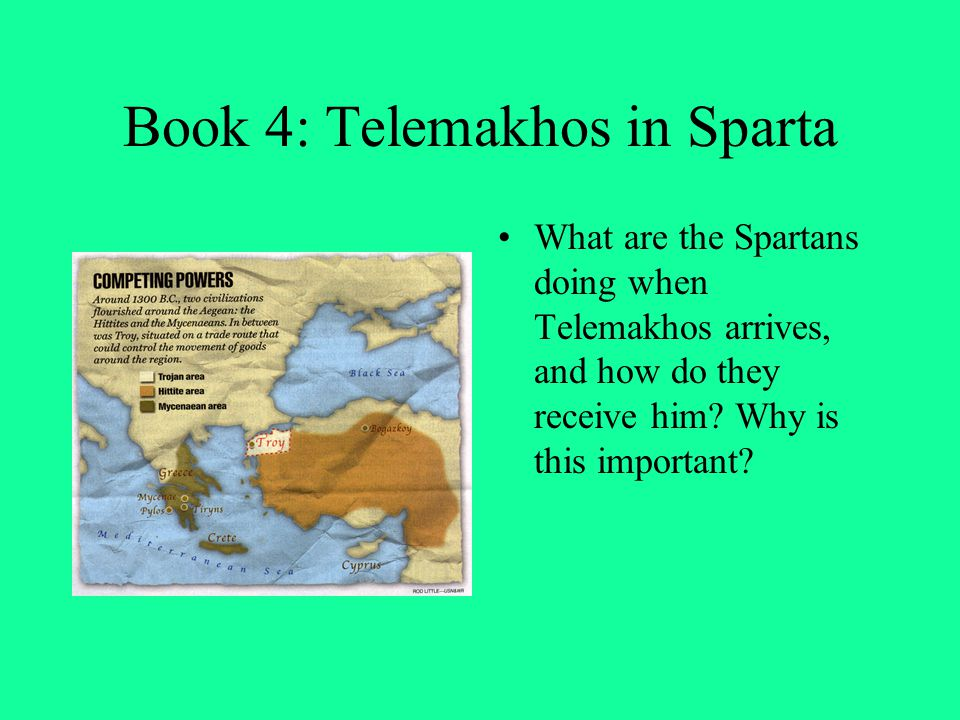 Book 4: Telemakhos in Sparta What are the Spartans doing when Telemakhos arrives, and how do they receive him? Why is this important?