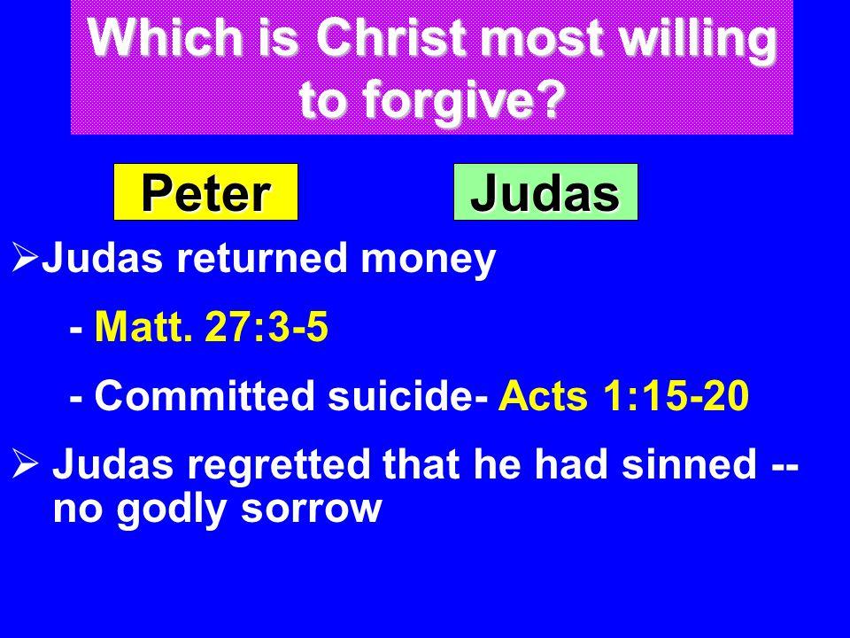 Peter  Judas returned money - Matt.
