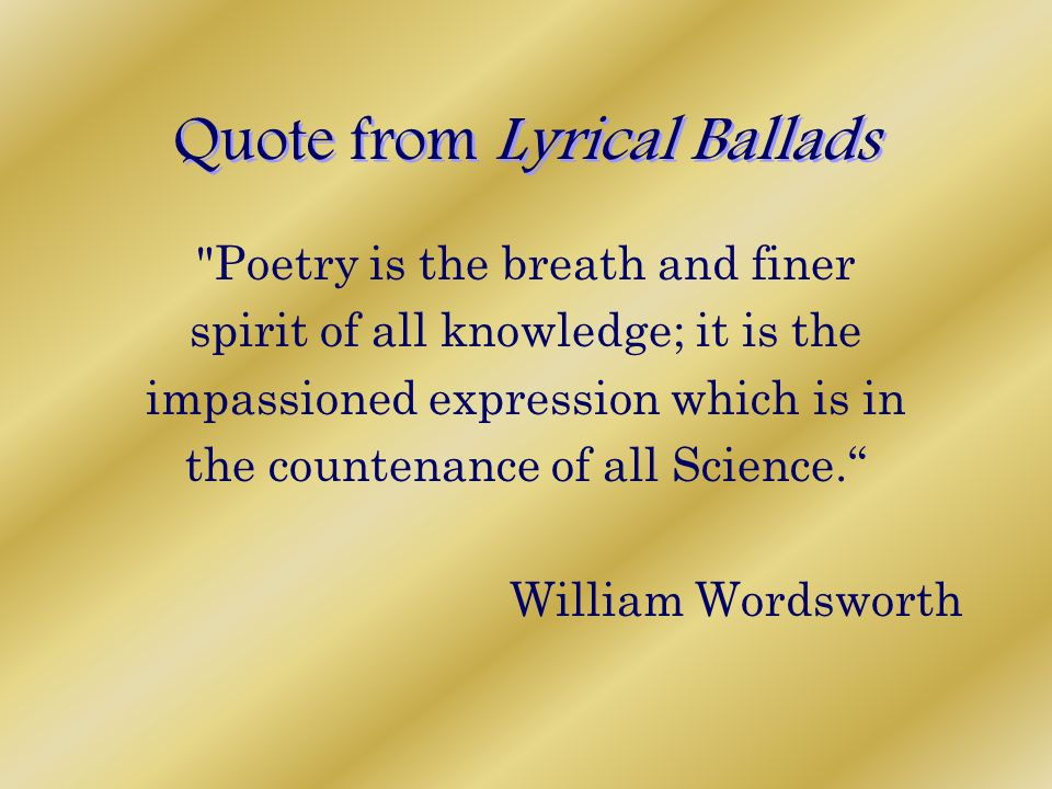 Quote from Lyrical Ballads