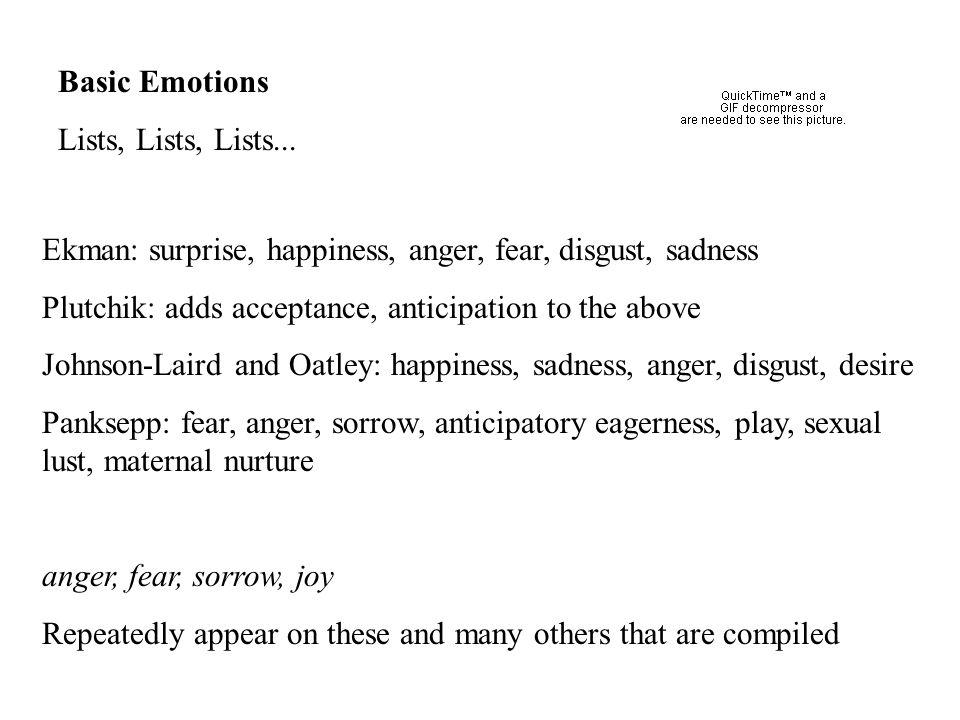 Basic Emotions Lists, Lists, Lists...