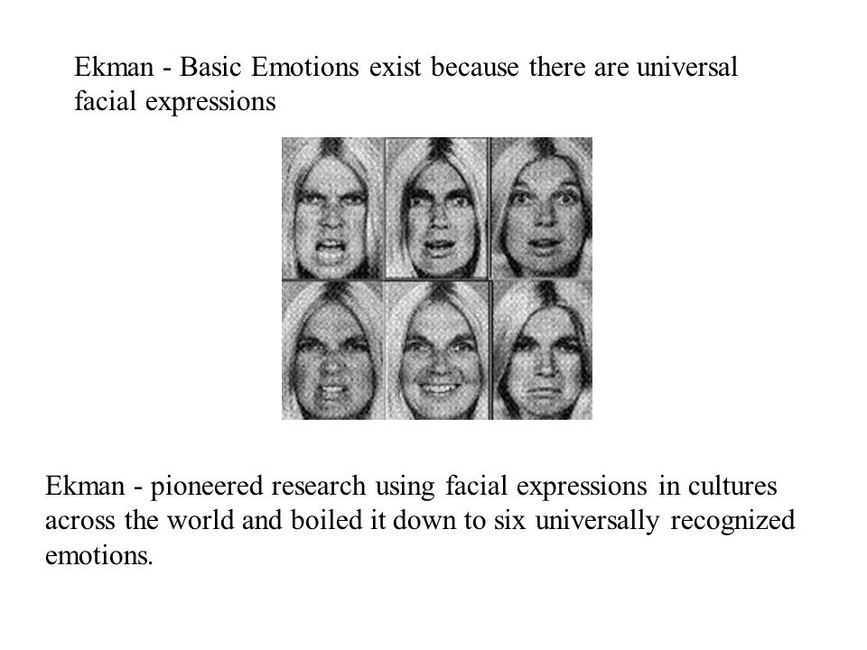 Ekman - pioneered research using facial expressions in cultures across the world and boiled it down to six universally recognized emotions. Ekman - Ba