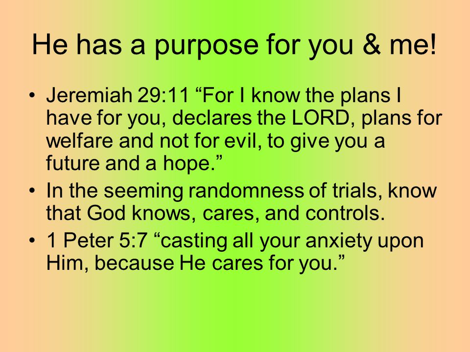 He has a purpose for you & me.