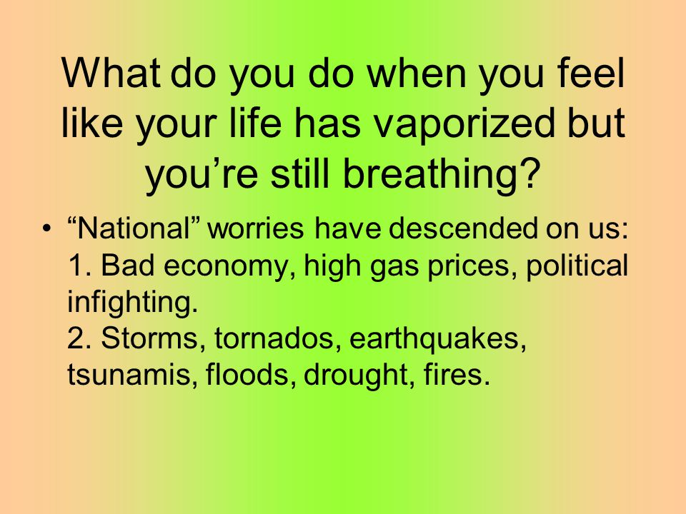 What do you do when you feel like your life has vaporized but you're still breathing.