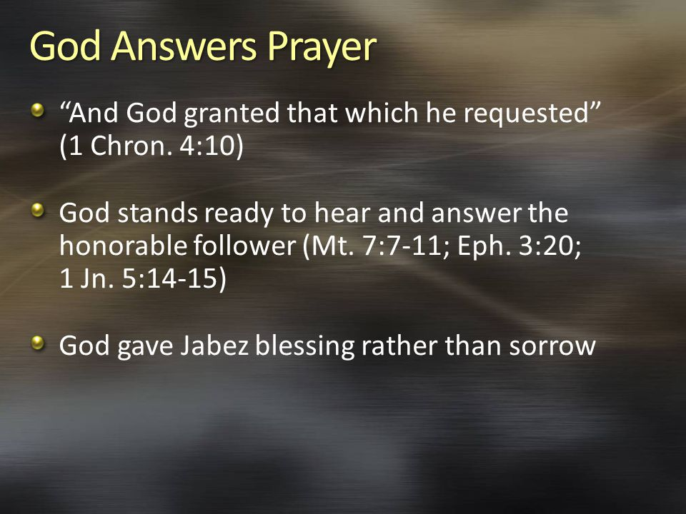 God Answers Prayer And God granted that which he requested (1 Chron.