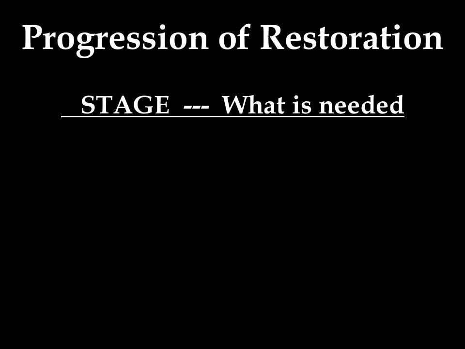 STAGE --- What is needed
