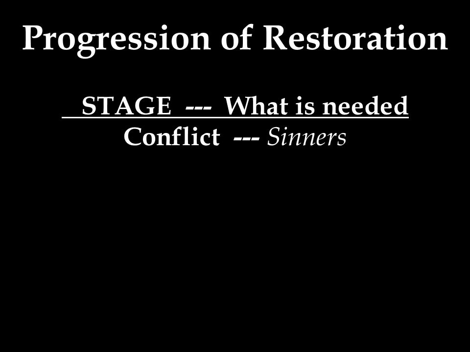 Progression of Restoration STAGE --- What is needed Conflict --- Sinners