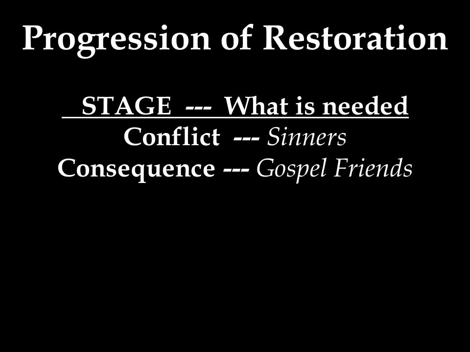 Progression of Restoration STAGE --- What is needed Conflict --- Sinners Consequence --- Gospel Friends
