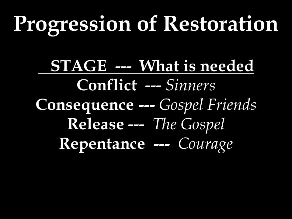Progression of Restoration STAGE --- What is needed Conflict --- Sinners Consequence --- Gospel Friends Release --- The Gospel Repentance --- Courage