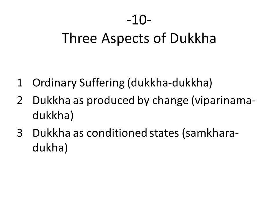 -10- Three Aspects of Dukkha 1Ordinary Suffering (dukkha-dukkha) 2Dukkha as produced by change (viparinama- dukkha) 3Dukkha as conditioned states (samkhara- dukha)