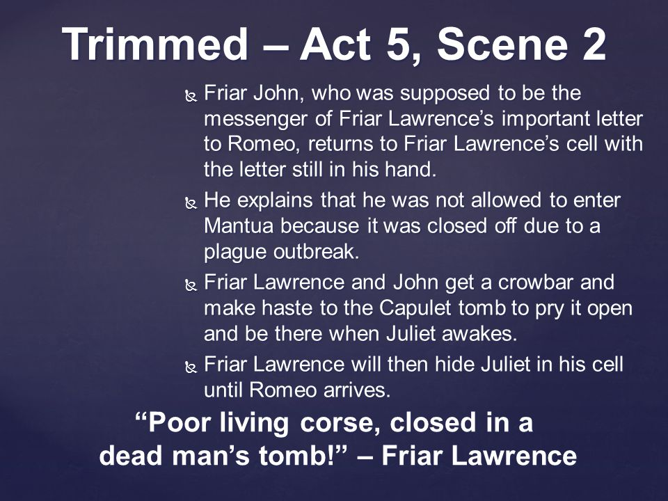  Friar John, who was supposed to be the messenger of Friar Lawrence's important letter to Romeo, returns to Friar Lawrence's cell with the letter still in his hand.
