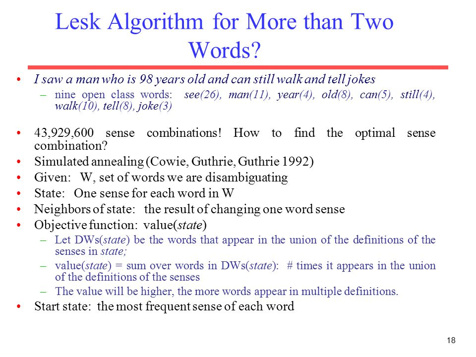 Lesk Algorithm for More than Two Words.