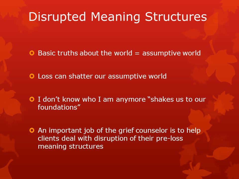 Disrupted Meaning Structures  Basic truths about the world = assumptive world  Loss can shatter our assumptive world  I don't know who I am anymore shakes us to our foundations  An important job of the grief counselor is to help clients deal with disruption of their pre-loss meaning structures