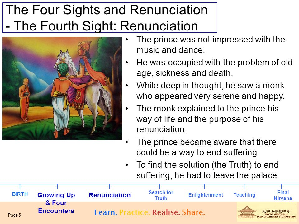 The Four Sights and Renunciation - The Prince's Four Sights The Four Sights – Old Age – Sickness – Death – Renunciation Learn.