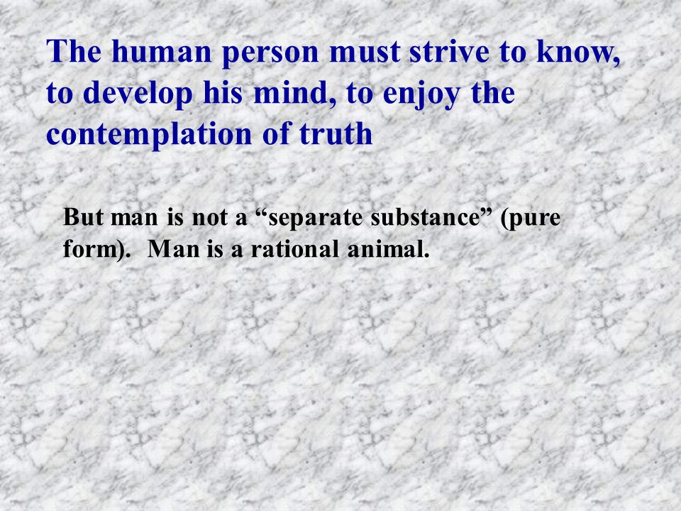 The human person must strive to know, to develop his mind, to enjoy the contemplation of truth But man is not a separate substance (pure form).