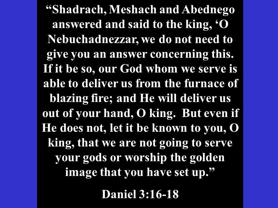 Shadrach, Meshach and Abednego answered and said to the king, 'O Nebuchadnezzar, we do not need to give you an answer concerning this.