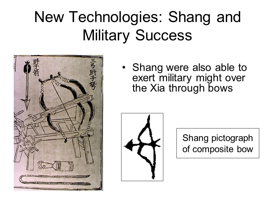 New Technologies: Shang and Military Success Shang pictograph of composite bow Shang were also able to exert military might over the Xia through bows