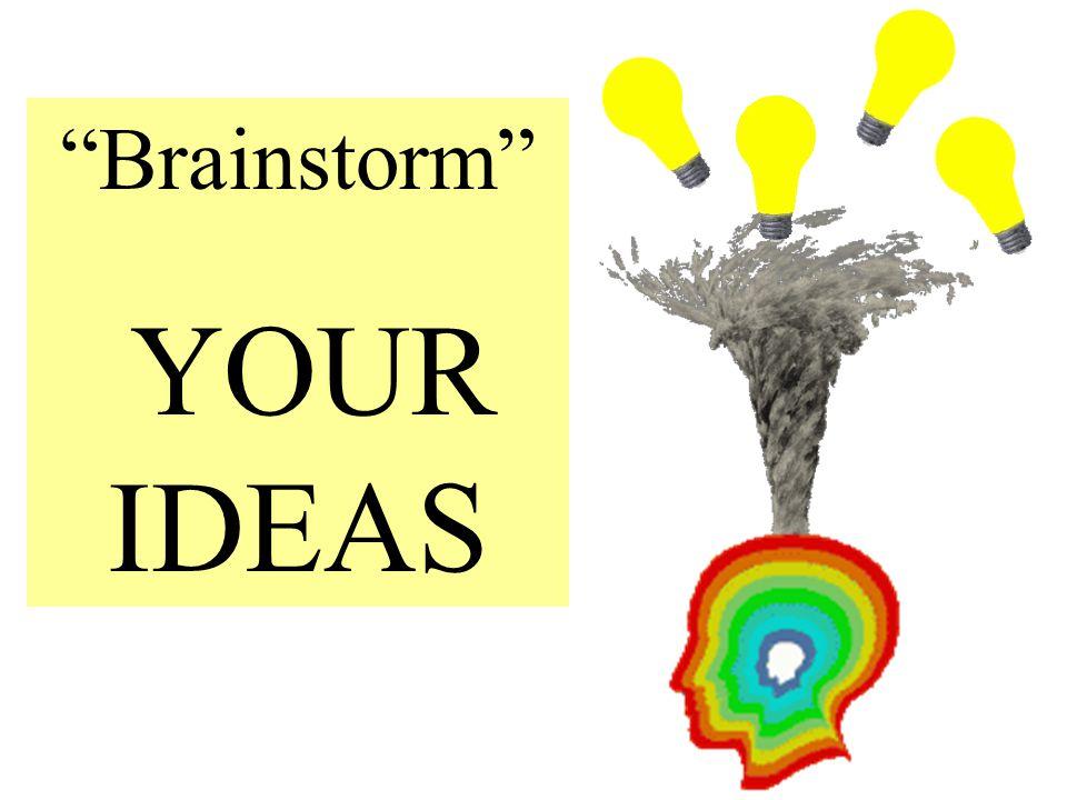 """""""Brainstorm"""" YOUR IDEAS"""