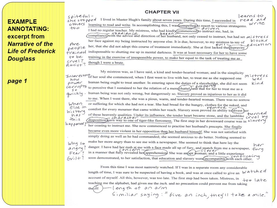 EXAMPLE ANNOTATING: excerpt from Narrative of the Life of Frederick Douglass page 1