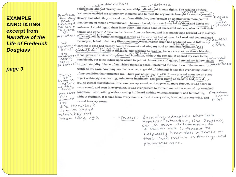 EXAMPLE ANNOTATING: excerpt from Narrative of the Life of Frederick Douglass page 3