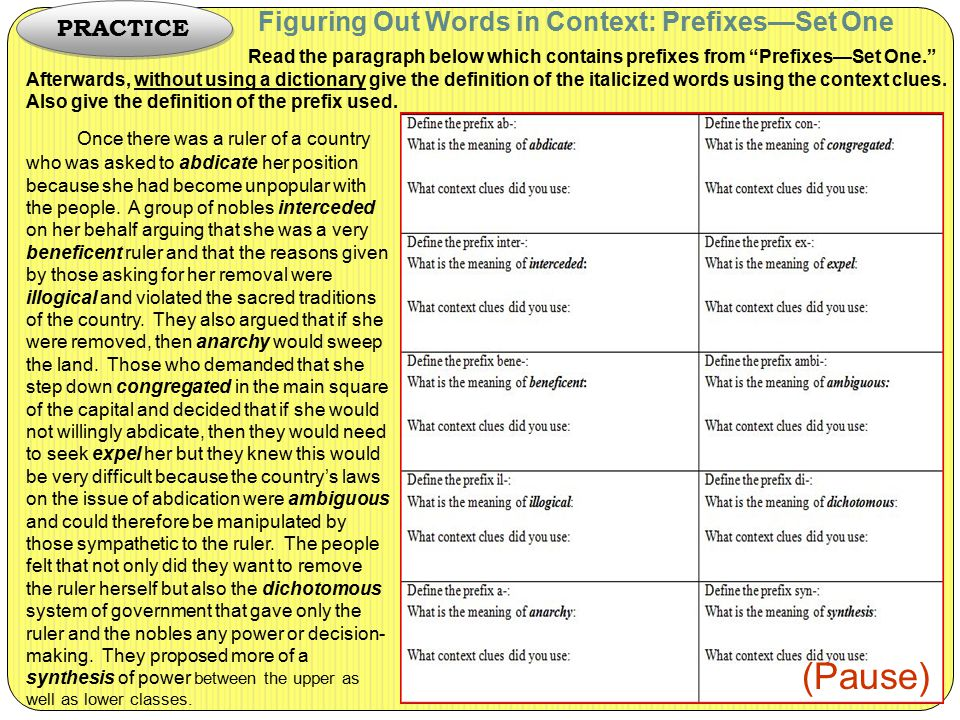 "Figuring Out Words in Context: Prefixes—Set One Read the paragraph below which contains prefixes from ""Prefixes—Set One."" Afterwards, without using a"