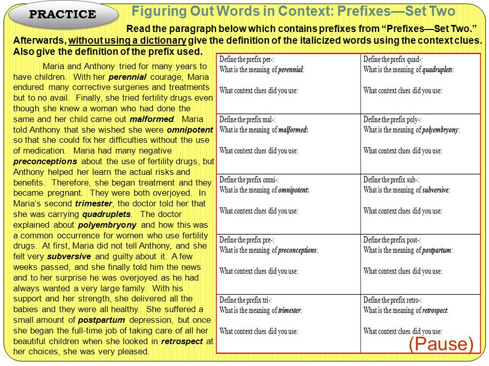 "Figuring Out Words in Context: Prefixes—Set Two Read the paragraph below which contains prefixes from ""Prefixes—Set Two."" Afterwards, without using a"