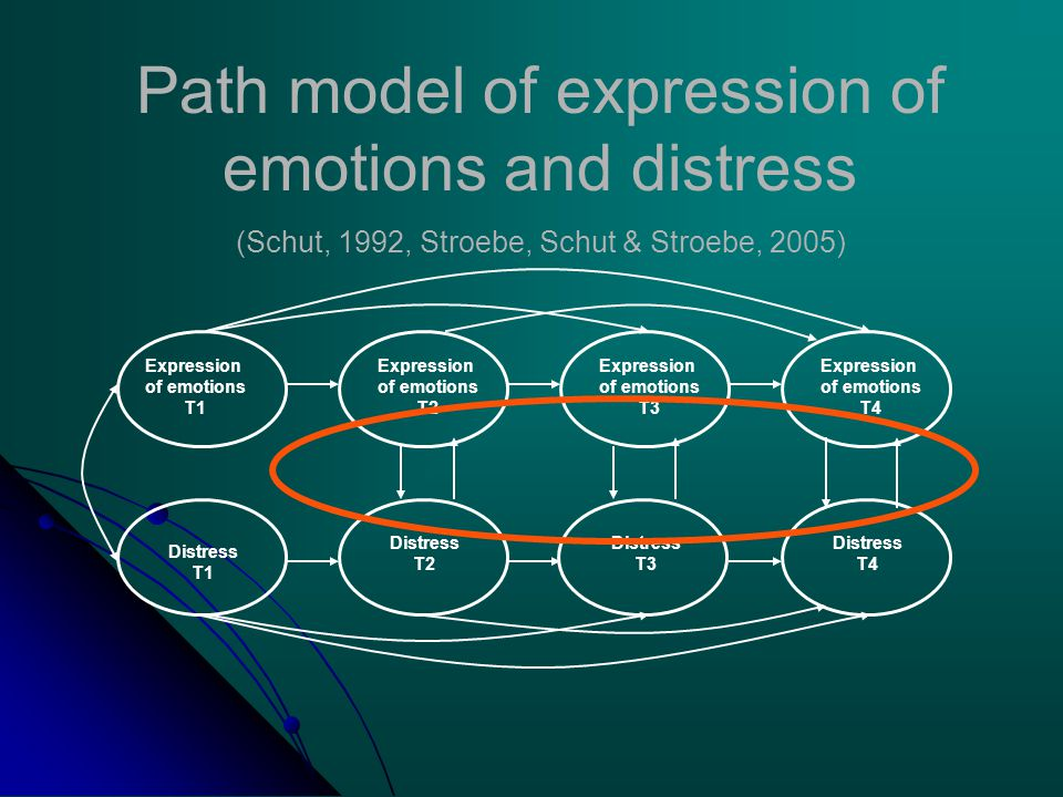 Expression of emotions T1 Expression of emotions T2 Distress T1 Distress T2 Distress T3 Distress T4 Expression of emotions T3 Expression of emotions T4 Path model of expression of emotions and distress (Schut, 1992, Stroebe, Schut & Stroebe, 2005)