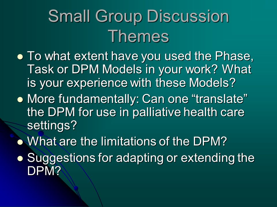 Small Group Discussion Themes To what extent have you used the Phase, Task or DPM Models in your work? What is your experience with these Models? To w