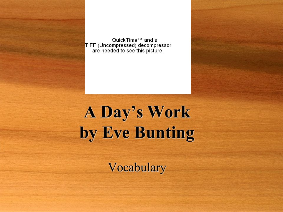 A Day's Work by Eve Bunting Vocabulary